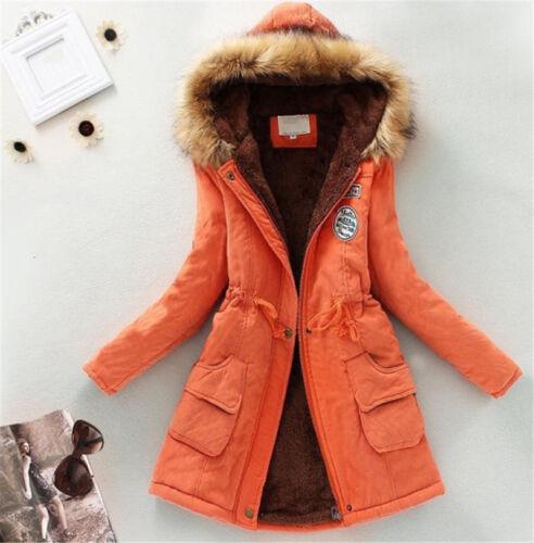 Womens Warm Slim Fur Collar Hooded Jacket Winter Parka Outwear Coats Long Coat