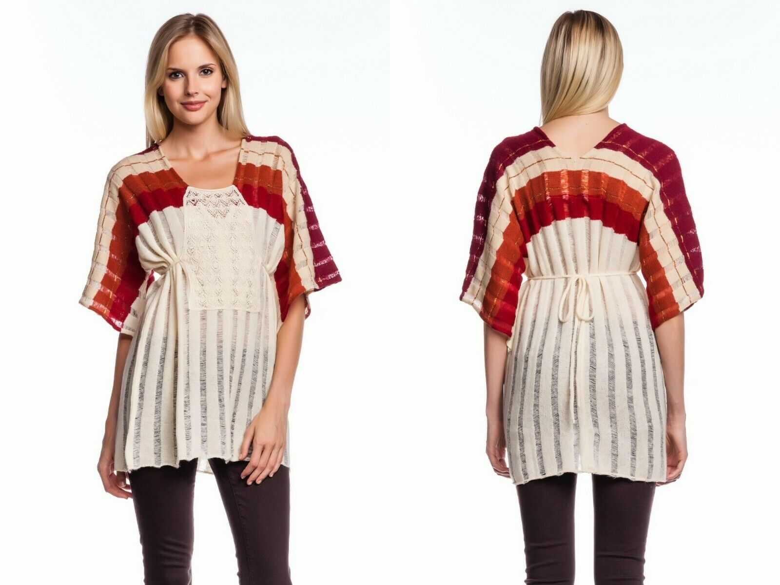 Jen's Pirate Stiefely Flashback Tunic-rot   Natural Ombre NEW Cream Crochet Scoop