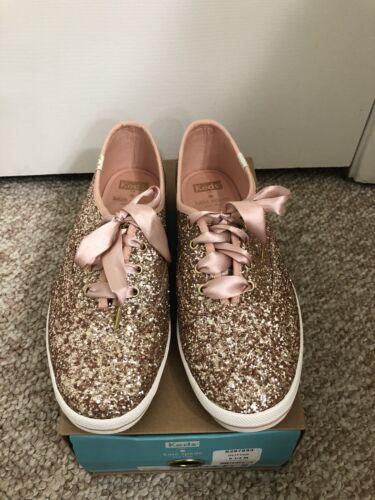 Kate Spade Keds Rose Gold Glitter Shoes Size 8.5