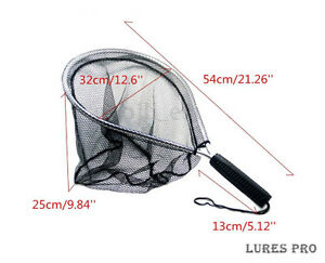 Fly-Fishing-Landing-Handle-Net-Nomad-Rubber-Fish-Nylon-Mesh-Trout-Bag-Tackle