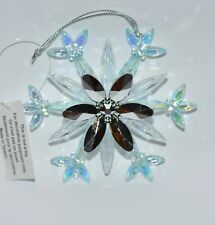 BATH BODY WORKS SNOWFLAKE SILVER BLUE MAGNET ORNAMENT LARGE 3 WICK CANDLE DECOR