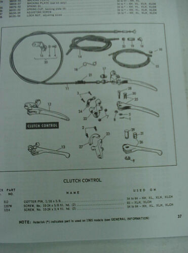 XL XLH XLCH Sportster  Parts Manual Catalog New 1954-1965 Harley KH