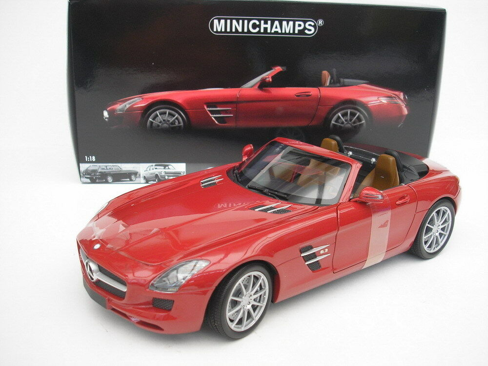 MERCEDES-BENZ SLS AMG ROADSTER 2011 ROSSO METALLIZZATO 1/18 Minichamps 100039030 NUOVO