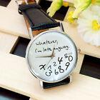 Fashion Letters Women Men Leather Band Analog Quartz Dial Casual Wrist Watch