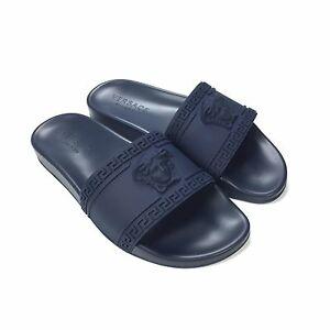 2e86b0cc5 NWT Versace Men s Palazzo Medusa Greek Key Logo Navy Slides Flip ...
