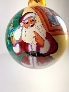 Santa-Claus-Tree-Christmas-Ornament-Reverse-Painted-Inside-Glass-Ball-Some-Wear