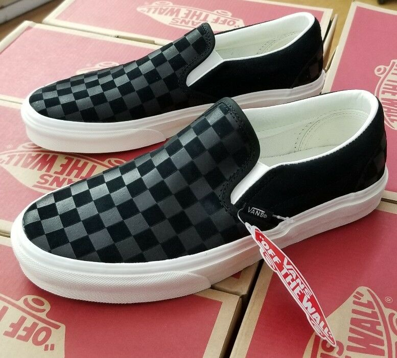 VANS CLASSIC SLIP-ON CHECKER EMBOSS VN0A38F7QCF BACK/MARSHMALLOW Homme US SZ 10