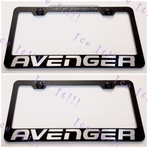 2X Dodge AVENGER  Stainless Steel Black License Plate Frame Rust Free W CAPS