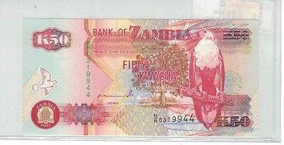 K50 50 Kwacha Cuhaj 37a 1992 Zambia Uncirculated Banknote B/b 0319944