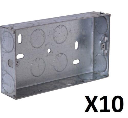 bouchons New Metal Box 2 Gang douilles Pattress électrique 35 mm Trade Pack De 10