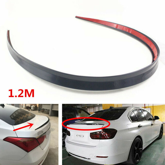 Universal 1.2M Black Soft Car Rear Roof Trunk Spoiler Rear Wing Lip Trim Sticker