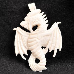 Intricately Carved Polished Bone Dragon Pendant 1 11 16 43x30mm Flat Back Ebay