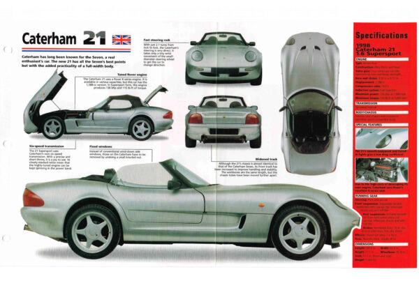 1998 Caterham 21 Spec Foglio/brochure/opuscolo/catalogo / Foto