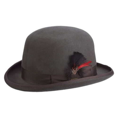 Mens Scala Charcoal Wool Felt Derby Hat WF506