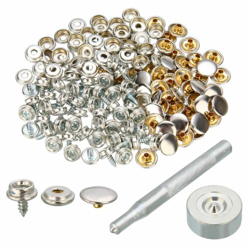 50 Set Stainless Steel Push Button Sockets Screw Stud With Tool Snap Kit