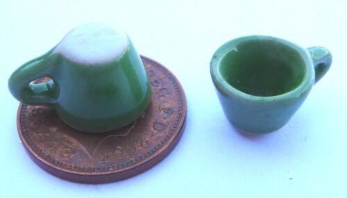 1:12 escala 2 Pintado a Mano Verde tumdee Tazas Casa De Muñecas Cocina Accesorio G41