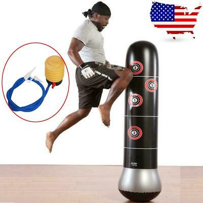 Boxing Inflatable Punching Bag Stand MMA Kick Martial Training With Air Pump USA