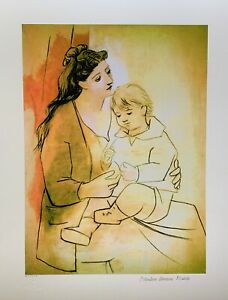"""Pablo Picasso MOTHER AND CHILD Estate Signed Stamped & Numbered Giclee 20"""" x 26"""""""