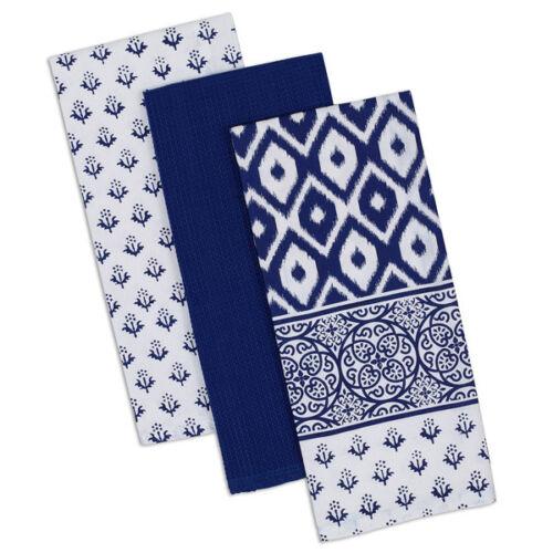 INDIGO BLUE /& White 3 Piece Cotton Dish Towel Set