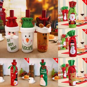 Hot Santa Champagne Package Wine Bottle Cover Bag Christmas Dinner Table Decor