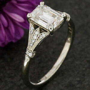 1-25-Ct-Emerald-Cut-Diamond-Vintage-Engagement-Wedding-Ring-10K-Solid-White-Gold