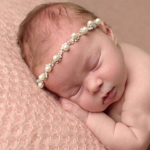 Crystal Photography Props Baby Bling Rhinestone Headband Newborn Faux Pearl
