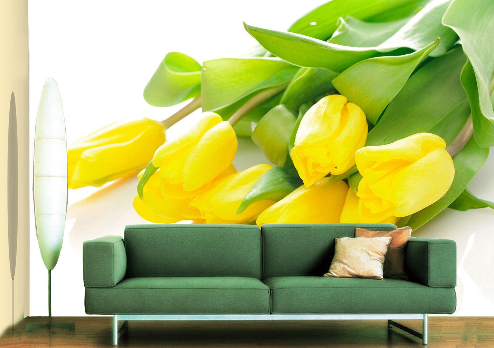 3D yellowe Tulpen Fototapeten Wandbild Fototapete Bild Tapete Familie Kinder