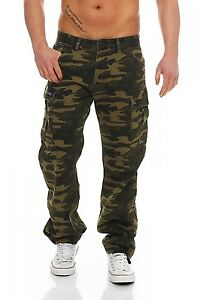 Herren Fit Jeans Comfort Big Green Camouflage Cargo Hose Seven Brian wxOvHqP8
