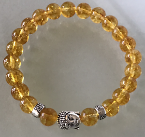 Wealth UK.Lucky  Silver Buddha Citrine Crystal Gemstone Bead Bracelet