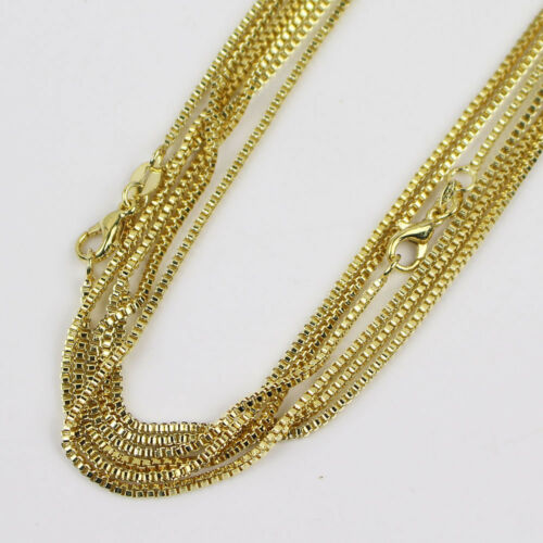 """Fashion 10pcs 18K Gold Plated 1.4mm Box Chain Necklace 16/""""-24/"""" Wholesale lots"""