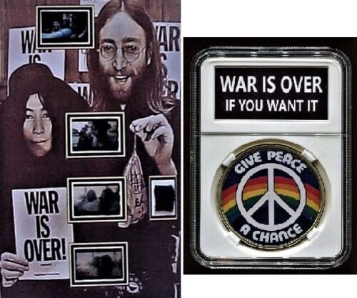 Beatles John Lennon Worn Clothing WAR IS OVER Film Display Coin and Guitar Pick