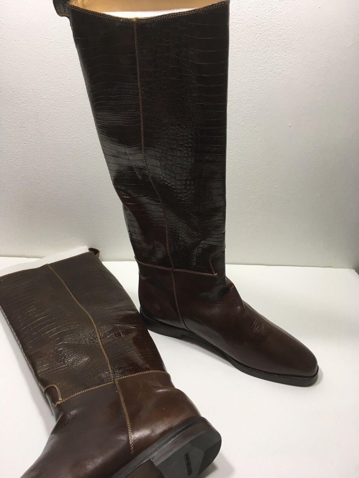 Pons  Quintana BOOTS    Tall Boots Crocodile Pint  Leather EU 39 bb2fc1