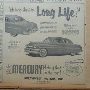 1951 newspaper ad for Mercury - Nothing Like It for Long Life! 1951 Mercury