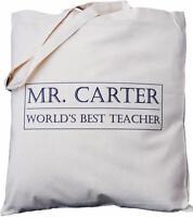PERSONALISED - WORLD'S BEST TEACHER - BOX DESIGN - COTTON BAG gift