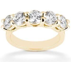 2-25-ct-18k-Yellow-Gold-round-Brilliant-DIAMOND-Ring-Anniversary-BAND-5-x0-45-ct