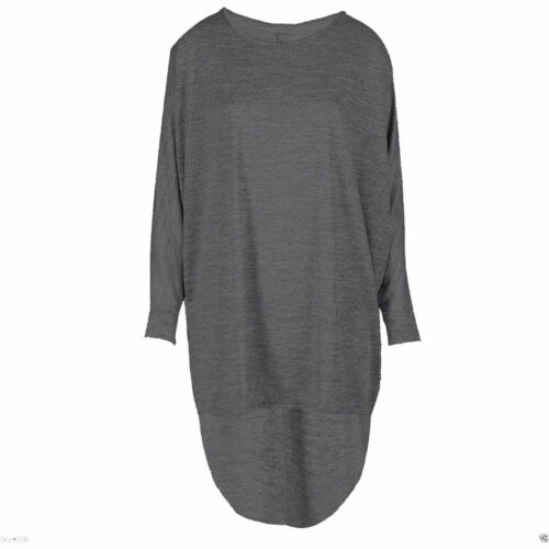 Womens Over Size Hi Lo Hem Batwing Ladies Long Sleeve Knitted Baggy Dress