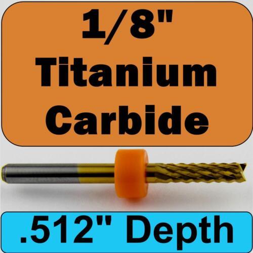 """1//8/"""" Titanium Coated Carbide Router with 1//8/"""" Shaft CNC Carbon Fiber M143"""