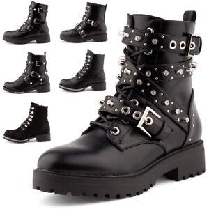 Boots Herrenschuhe Stiefeletten Stiefel Schnürschuhe mit Fashion Niet Schwarz