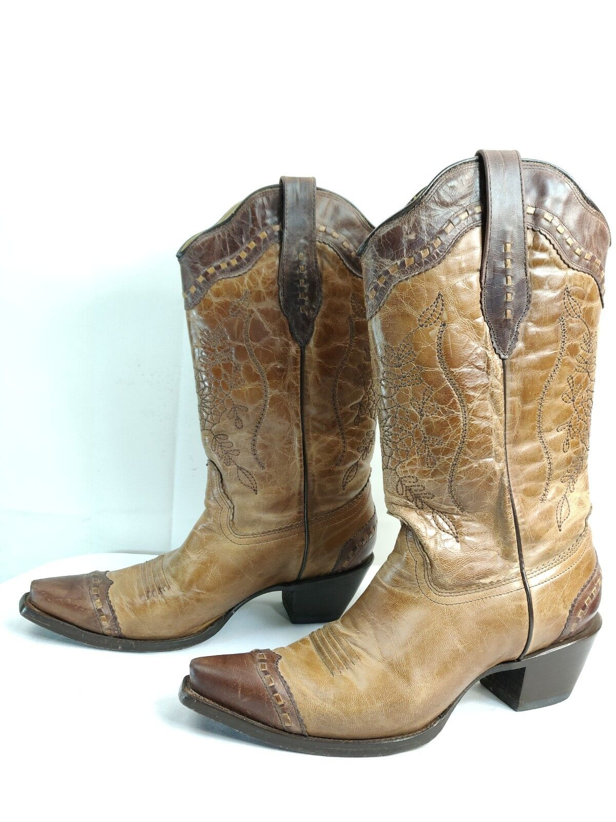 Corral Women's Chocolate Sand Leather Western Cowgirl Boots Size US 10 M