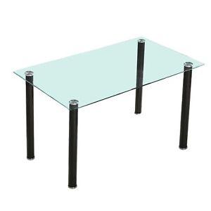 Dettagli Su Tavolo Per Sala Da Pranzo O Cucina Struttura Nero O Bianco Con Vetro Yuri