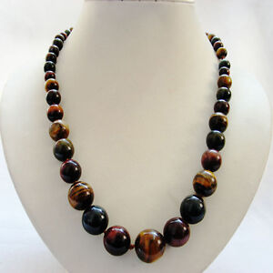 18 6-16mm round Graduated smooth yellow blue red mixed color tigereye necklace