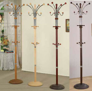 Wood-amp-Chrome-Metal-Coat-Rack-with-multiple-hooks-74-034-Four-colors-to-choose