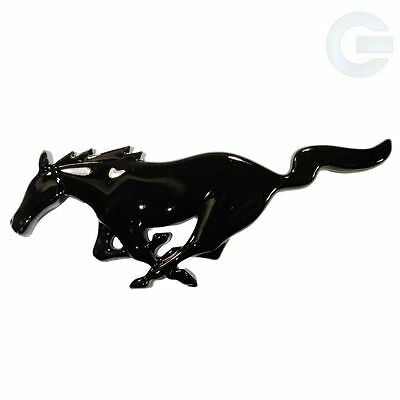 "Ford Mustang Black Gloss Running Horse Emblem Fender Badge Decal - 6"" x 2.5"""