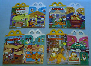 McDonald-039-s-1989-Garfield-Complete-Set-of-4-Happy-Meal-Boxes
