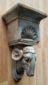 Ram-Head-Regency-Plaster-Wall-Bracket-Corbel-Shelf
