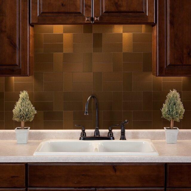 Ordinaire Peel And Stick Tile Bronze Self Adhesive Metal Accent Wall Kitchen  Backsplash