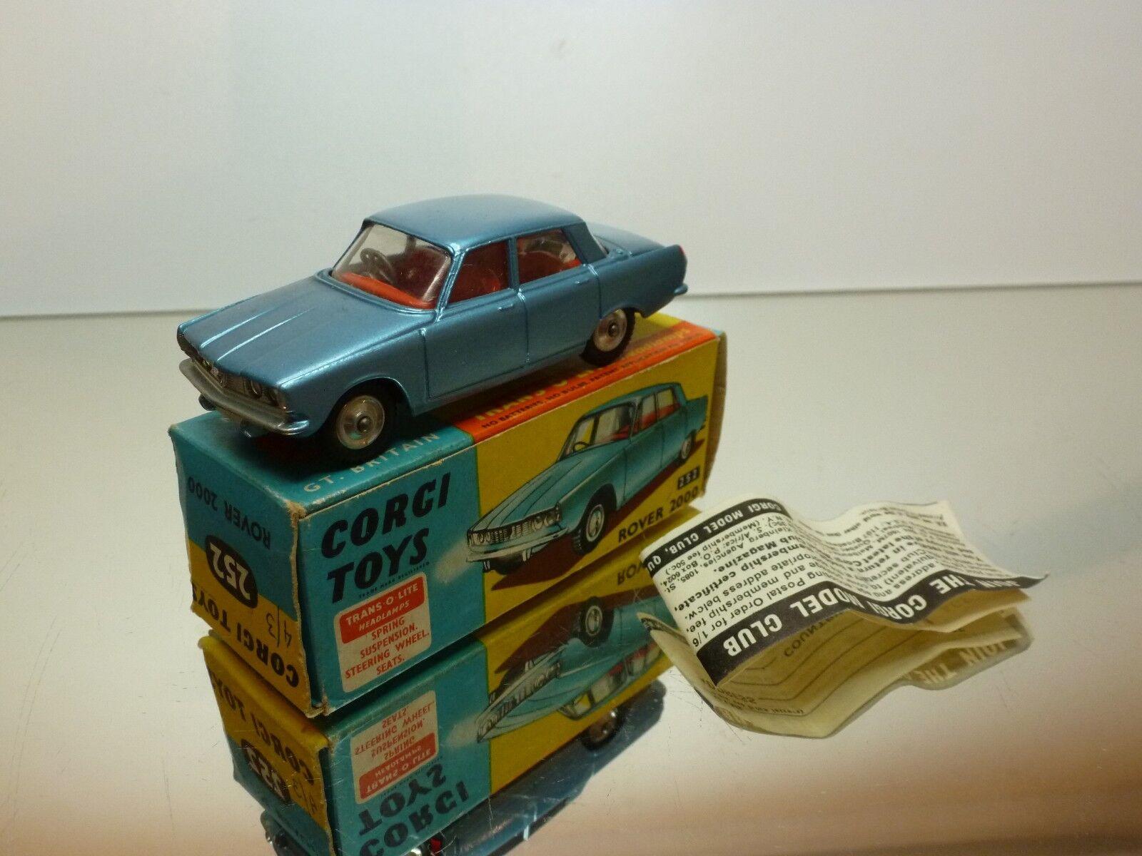 CORGI TOYS 252  ROVER 2000 - bleu METALLIC 1 43 - EXCELLENT IN BOX  le style classique