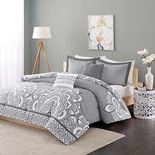 Intelligent Design Peach Skin Printed 5 Piece Comforter Set Full/Queen Grey NEW