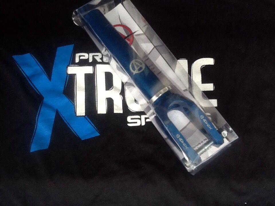 Apex ZERO Stunt Scooter tenedores Anodizado Azul Pegatinas Libre & ENTREGA GRATUITA