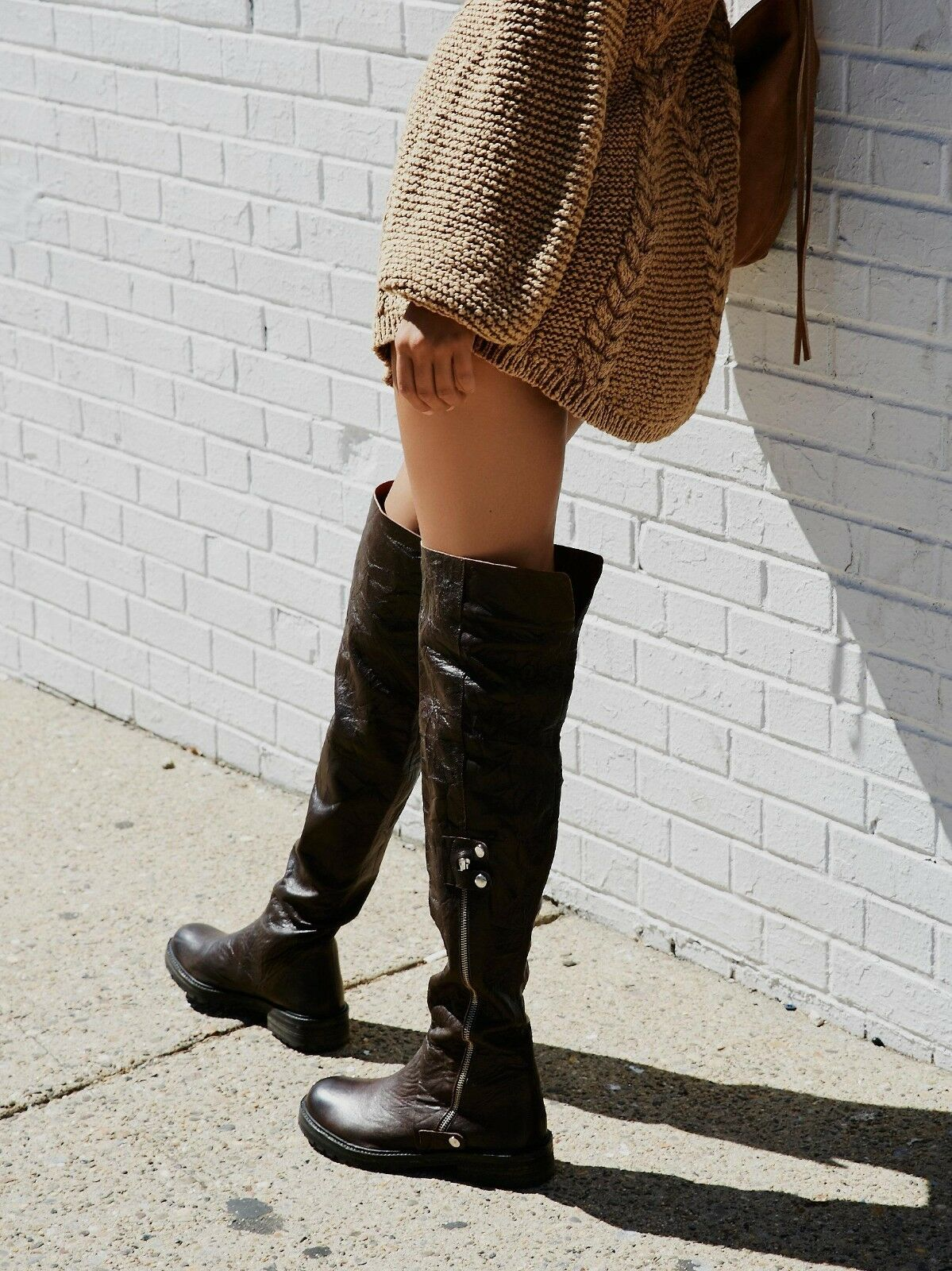 FREE PEOPLE SHOES BRAXTON TALL BOOT NEW 38  348 OVER THE KNEE OTK BROWN